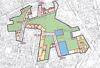 Extracto da ficha da urbanización do parque prevista para 2010, destinábanse 14.000 m² a espazos libres