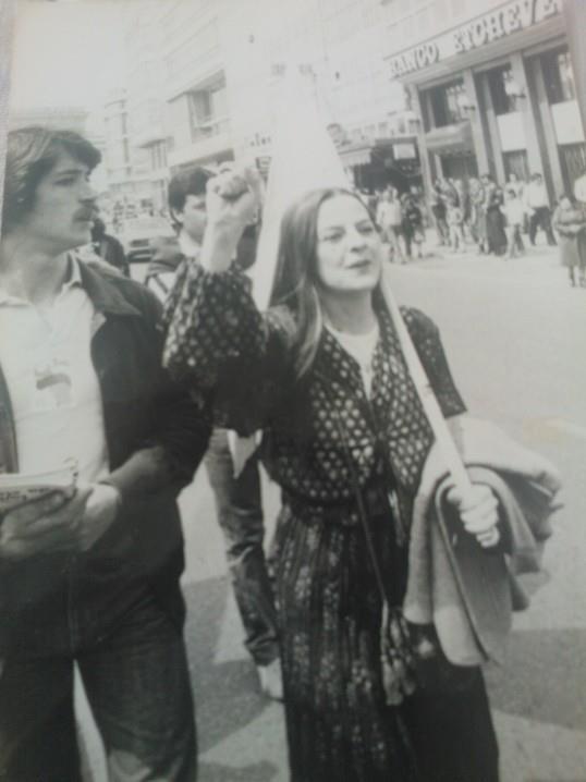 """Eu mesma, durante o 1º """"Primeiro de Maio"""" legal, despois do final da ditadura franquista"""