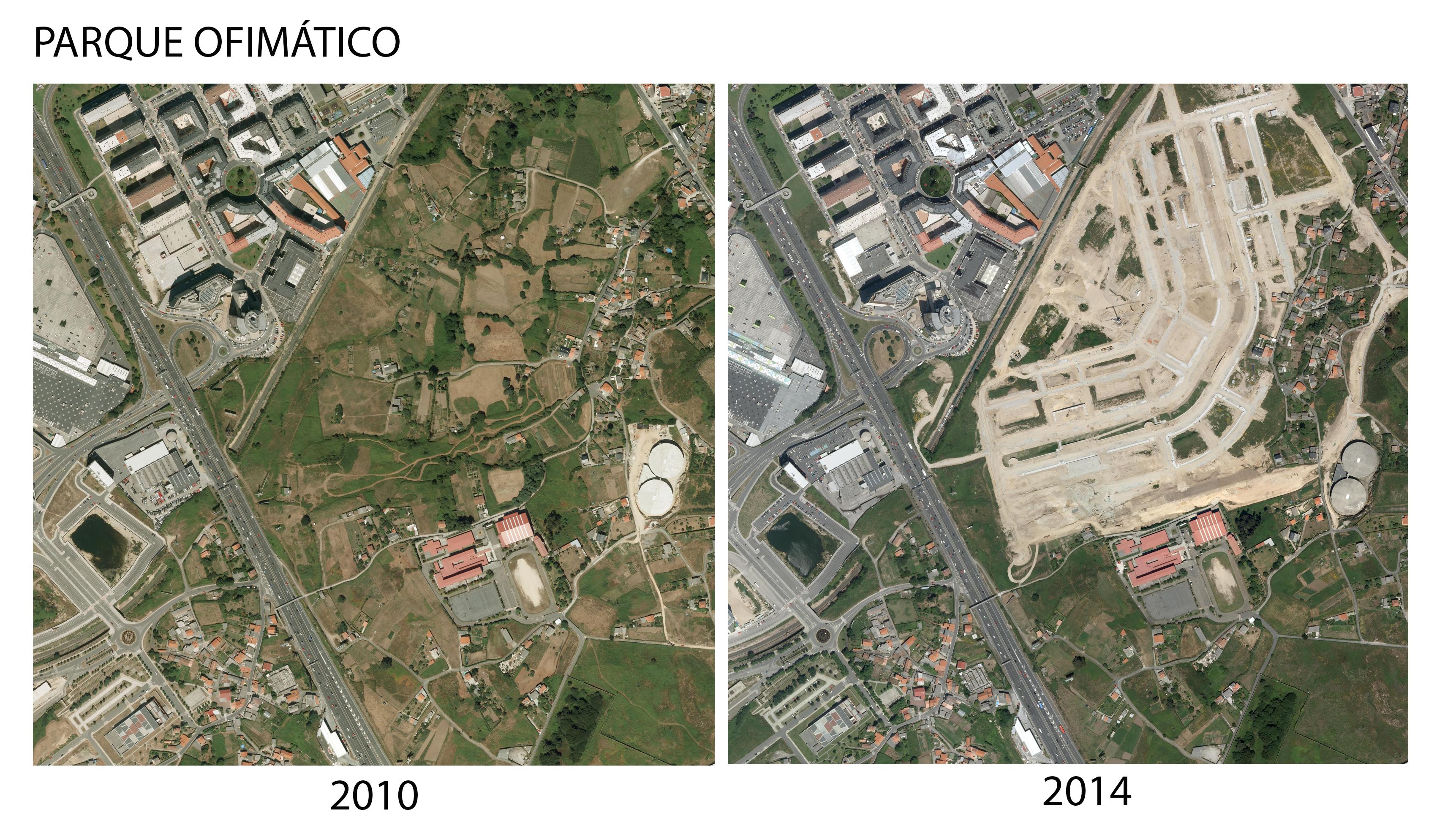 Comparativa dos terreos do parque Ofimático 2010-2014